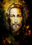 Pencils drawing of Jesus on vintage paper and color structure. Eye contact. Royalty Free Stock Images