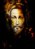Pencils drawing of Jesus on vintage paper and color structure. Eye contact. Stock Photo