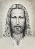 Pencils drawing of Jesus on vintage paper, with ornament on clothing. eye contact. Royalty Free Stock Image