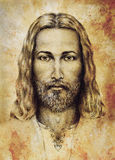 Pencils drawing of Jesus on vintage paper. with ornament on clothing. Old sepia structure paper. Eye contact. Spiritual Royalty Free Stock Images