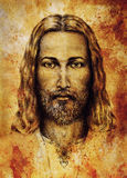 Pencils Drawing Of Jesus On Vintage Paper. With Ornament On Clothing. Old Sepia Structure Paper. Eye Contact. Spiritual Stock Image