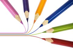 Pencils drawing together royalty free stock photography