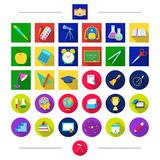 Pencils, education, attributes and other web icon in cartoon style. Letter, Universe, university icons in set collection Royalty Free Stock Images