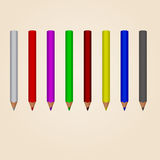 Pencils. Eight vector multicoloured isolated sharp wooden pencils Stock Photos