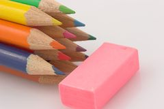 Pencils and eraser. Macro Royalty Free Stock Images