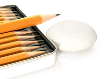 Pencils with eraser. Pencils box with eraser closeup shot on white background Stock Photography