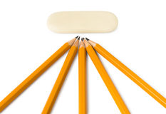 Pencils and eraser Stock Photos