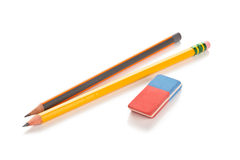 Pencils and eraser. Royalty Free Stock Photo