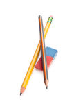 Pencils and eraser. Stock Images
