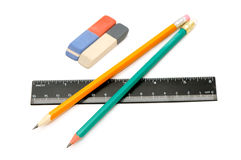 Pencils, eraser and ruler Royalty Free Stock Images