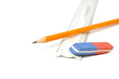 Pencils, eraser and ruler Stock Images