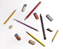 Pencils and eraser Royalty Free Stock Photo