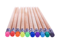 Pencils with erasers Royalty Free Stock Photo
