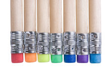 Pencils with erasers Stock Images