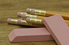 Pencils and erasers royalty free stock image