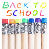 Pencils with erasers Royalty Free Stock Images