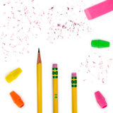 Pencils, erasers & bits. Number two pencils, erasers, pencil top erasers and eraser bits Stock Images