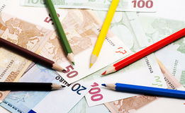 Pencils and euro Royalty Free Stock Photo