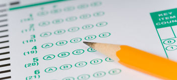 Pencils on Exam Royalty Free Stock Photo