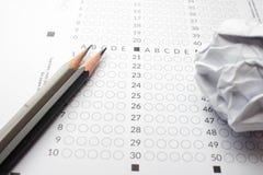 Pencils on Exam Stock Photo