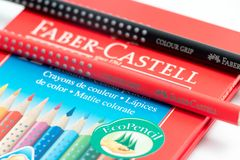 Geneva / switzerland - 07.07/18 : Faber castell colour grip pencil box pencils color. Pencils Faber castell red box isolated on white stock images