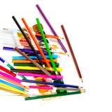 Pencils, felt pen, paint Stock Photography