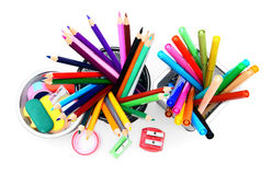 Pencils and felt-tip in baskets. Royalty Free Stock Photography