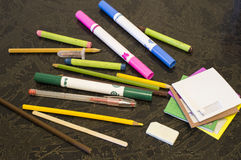 Pencils and felt-tip pens Royalty Free Stock Photo