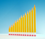 Pencils forming a graph Stock Photo
