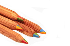 Pencils with four colors running through each Royalty Free Stock Photo