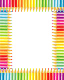 Pencils frame or border. Rainbow colored pencils frame or border Stock Images