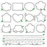 Pencils frames copyspace. Pencils frames, shapes, copyspace frame,  file Stock Photo