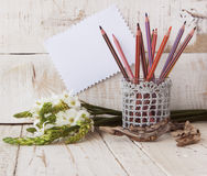 Pencils in the glass and flowers, selective focus Royalty Free Stock Images