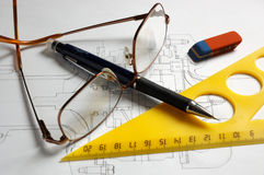 Pencils, glasses and triangle Royalty Free Stock Photo
