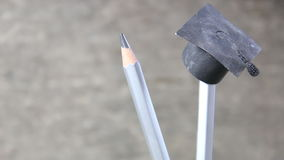 Pencils and graduation hat, education concept stock video footage