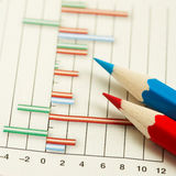 Pencils on graph. Red and light blue pencils lie on graph close up Stock Photo