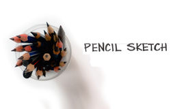 Pencils group isolate and freehand word Stock Photos