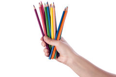 Pencils in hand Stock Photos