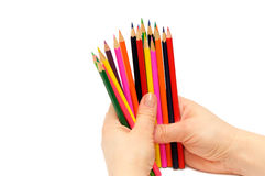 Pencils in a hand Royalty Free Stock Photo