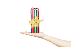 Pencils in hand isolated on white background. Pencils in hand isolated on white, background Stock Images