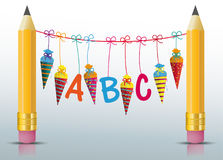 2 Pencils Hanging Candy Cones ABC Stock Images