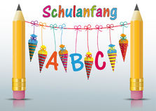 2 Pencils Hanging Candy Cones ABC Schulanfang Royalty Free Stock Photo