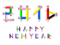 Pencils 2016. 2016 happy new year pencil text royalty free illustration