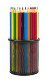 Pencils in holder stock images