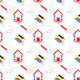 Pencils and home. seamless pattern Stock Photo