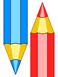 Pencils icon illustration. Illustration of the red and blue pencils Stock Image