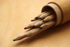 Free Pencils In Wooden Box Stock Image - 63859381