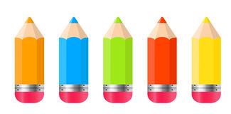 Pencils Isolated On White Background Vector Stock Photo