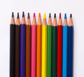 Pencils isolated on a white paper background Stock Photography