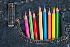 Pencils in jeans pocket Stock Photos